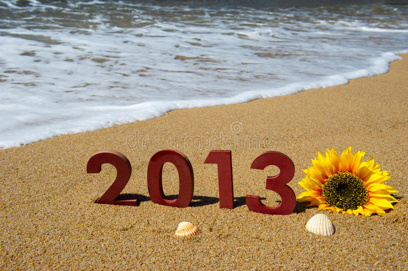 2013 on the beach. Vacation at the beach in 2013 royalty free stock photo