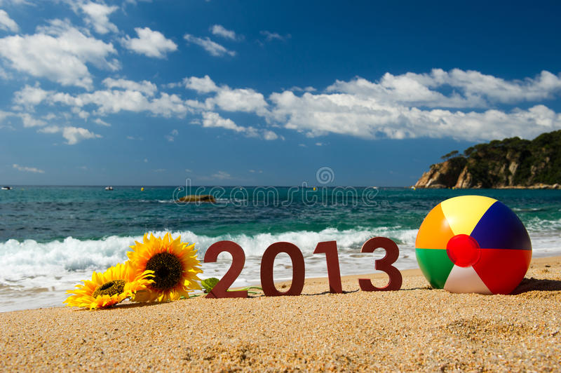 2013 on the beach. Vacation at the beach in 2013 stock photo