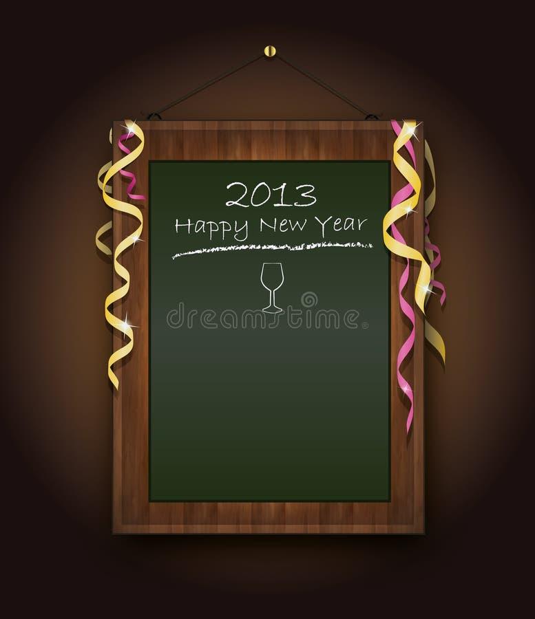 2013 blackboard zielony menu nowy rok ilustracja wektor