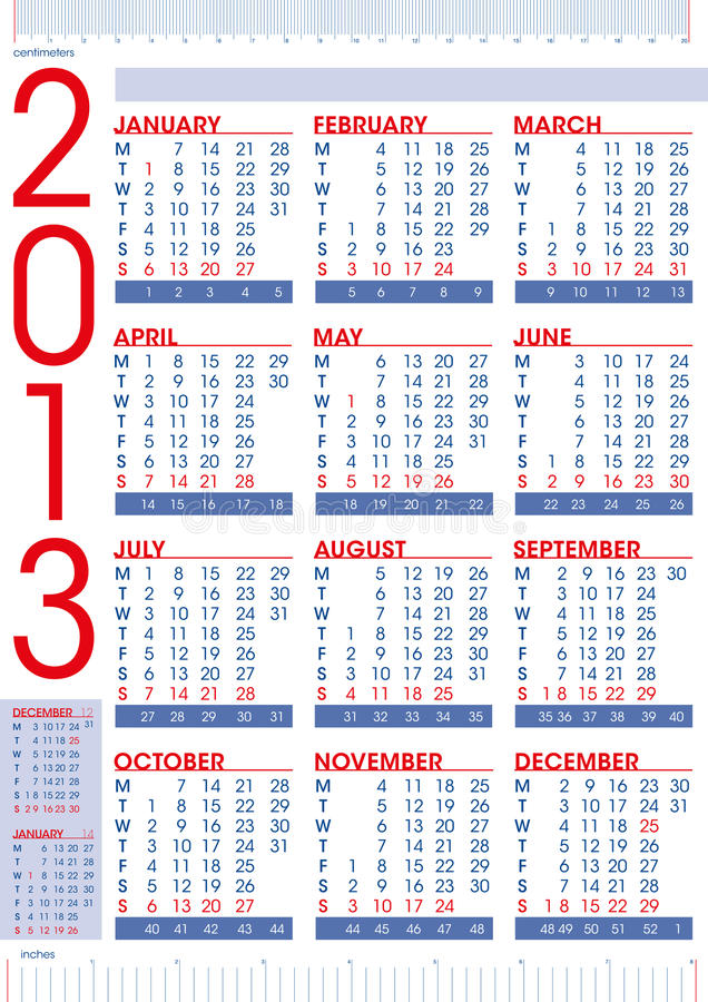 Download 2013 Calendar In English With Rulers Stock Vector - Illustration: 26647950