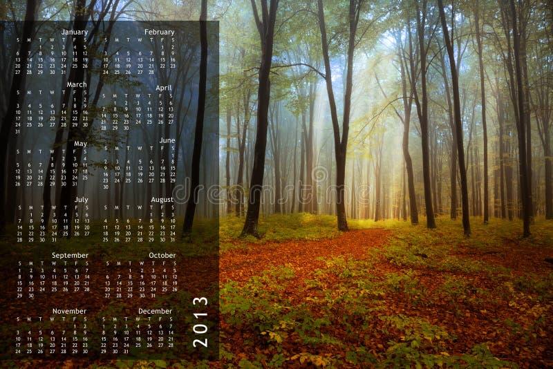 2013 Calendar on single page stock photography