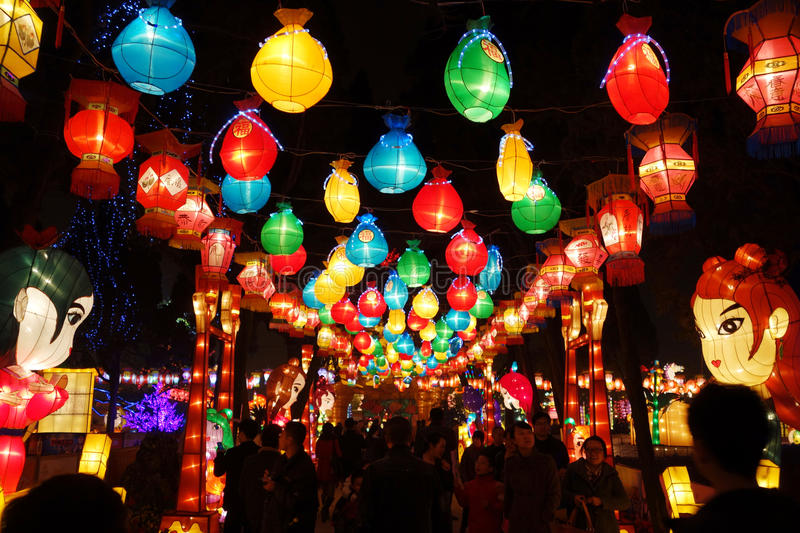 2013 Chinese New Year lantern festival and temple fair. The year of the snake,Visitors enjoy the Spring Festival Temple Fair at wuhouci, jinli old street. 2013 royalty free stock image