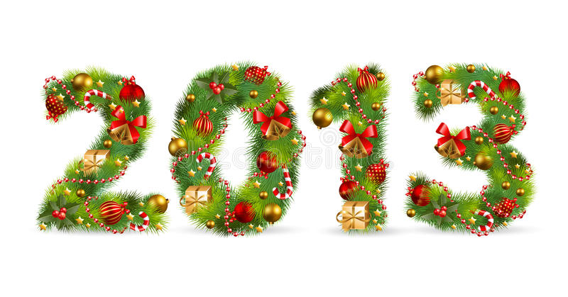 Download 2013, Christmas tree font stock vector. Image of nature - 27716006