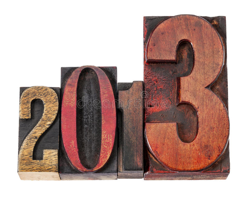 An 2013 dans le type en bois photo stock