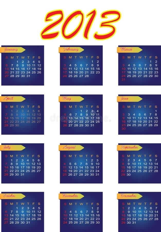 2013 de vectorkalender van het Jaar royalty-vrije stock afbeeldingen