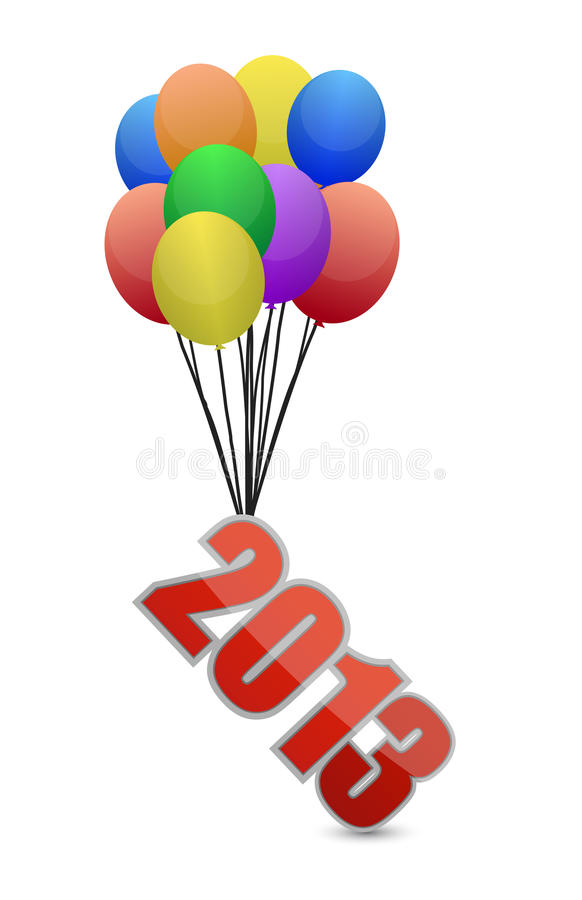 2013 flying away and balloons royalty free illustration