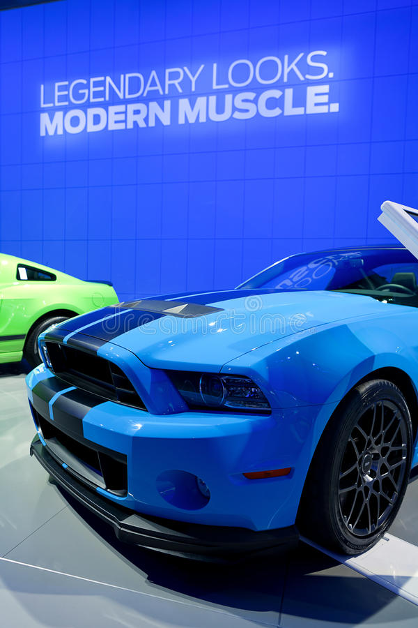 2013 Ford Mustang. DETROIT - JANUARY 11: 2013 Ford Mustang Boss 302 at the 2012 North American International Auto Show Industry Preview on January 11, 2012 in stock photos