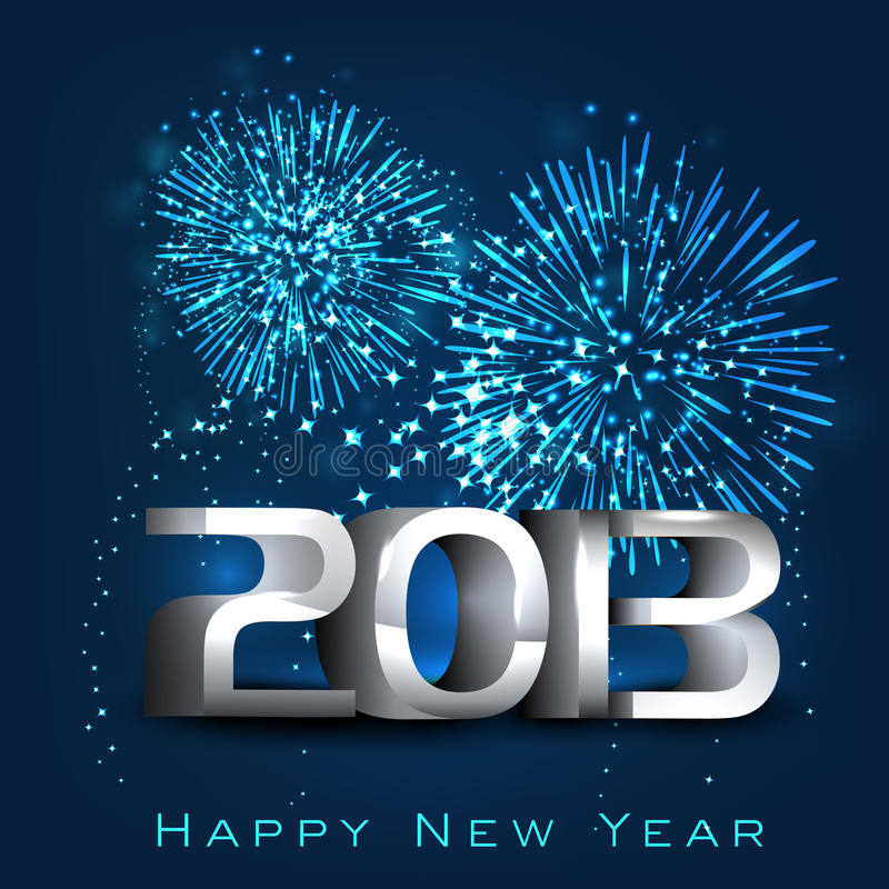 2013 Happy New Year greeting card. stock illustration
