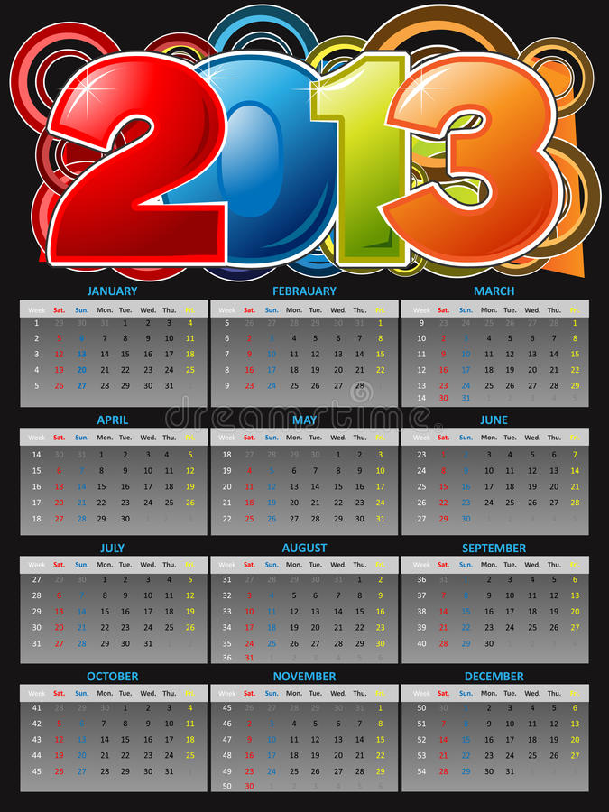 2013 Kalendarz zdjęcie royalty free