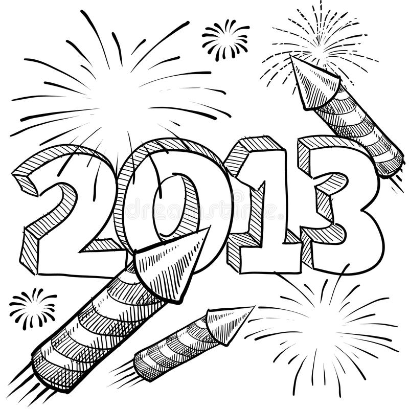 2013 New Year's fireworks vector. Doodle style 2013 New Year illustration in vector format with retro fireworks celebration background stock illustration