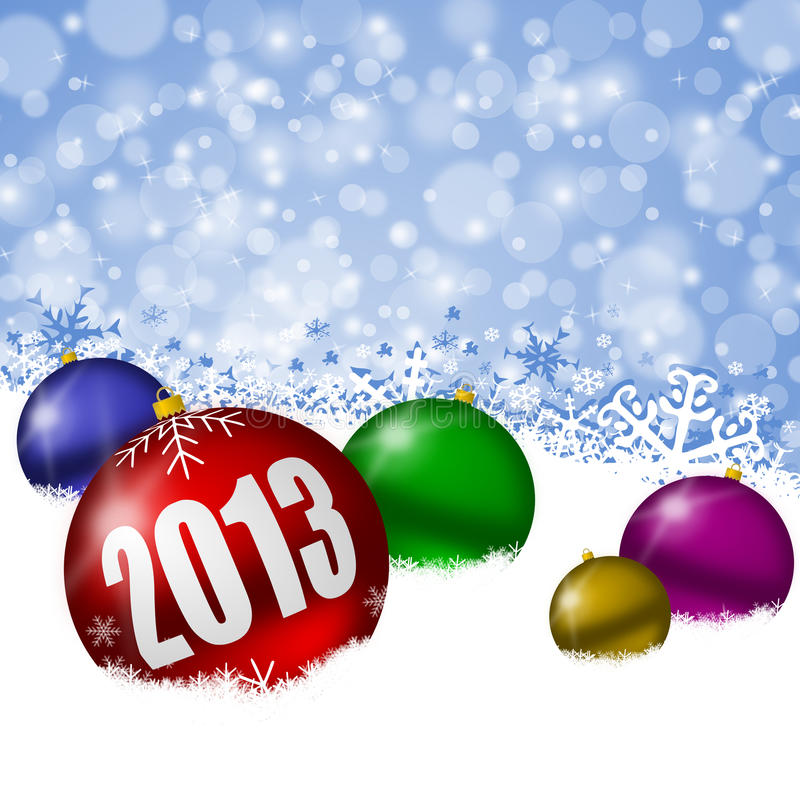 2013 New Years Illustration With Christmas Balls Royalty Free Stock Photography