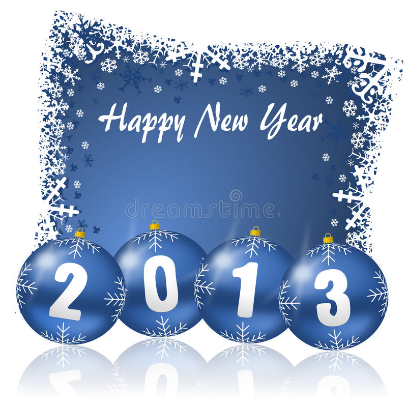 Free 2013 New Years Illustration With Christmas Balls Royalty Free Stock Photos - 28307748