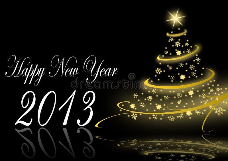 2013 Nieuwe Jarenillustratie Met Kerstmisboom Stock Foto