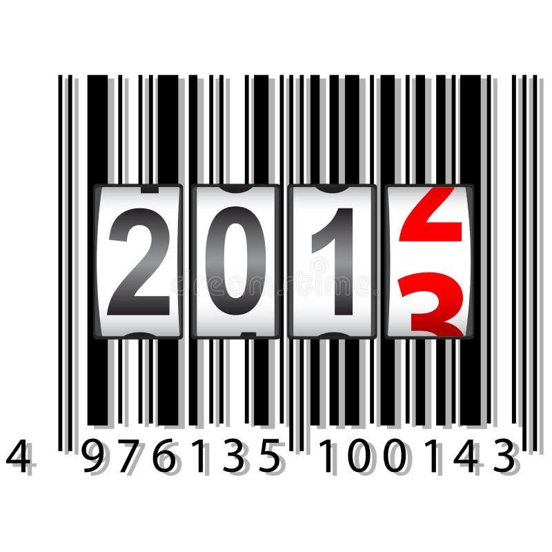 2013 Nieuwjaar tegen, streepjescode royalty-vrije illustratie