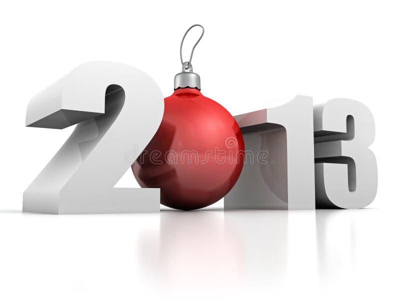 2013 nowego roku z czerwoną bożych narodzeń drzewa piłką royalty ilustracja