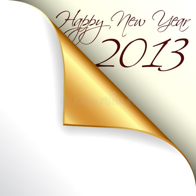 2013 nuovi anni con l'angolo arricciato oro illustrazione vettoriale