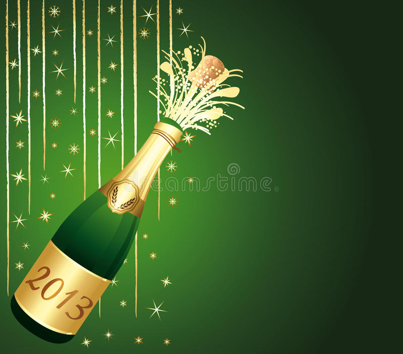 2013 Szampańskich butelek. Zielony i złocisty powitanie samochód ilustracja wektor
