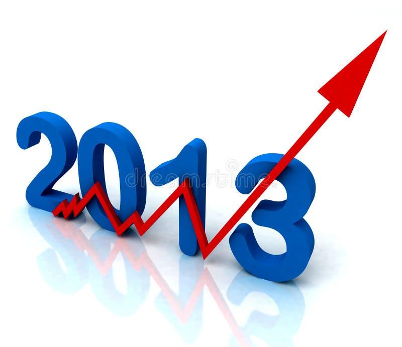 2013 vendite ad angolo di esposizioni della freccia di colore rosso per l'anno royalty illustrazione gratis
