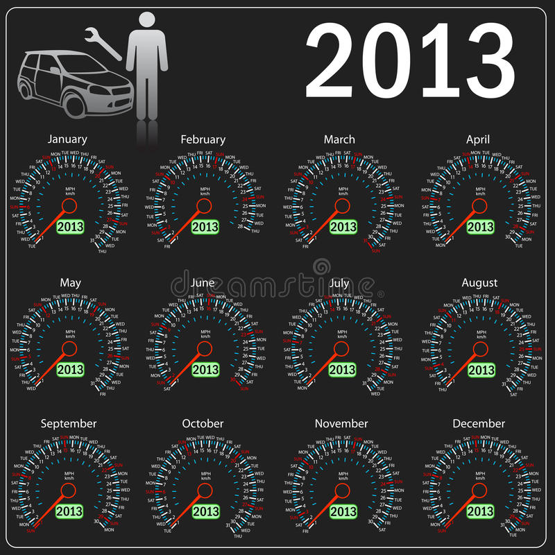 2013 year Calendar speedometer car in vector. royalty free illustration