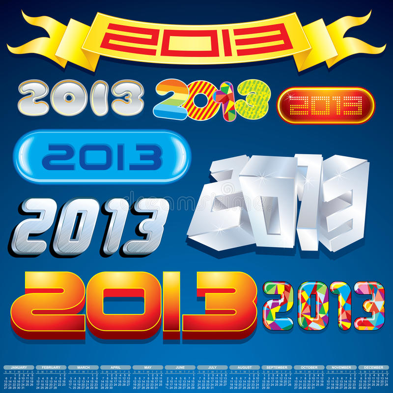 2013 Year Inscriptions Design N2 Stock Images