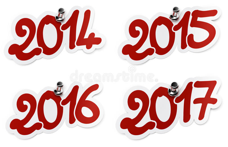 2014, 2015, 2016, 2017 jaar stickers stock illustratie
