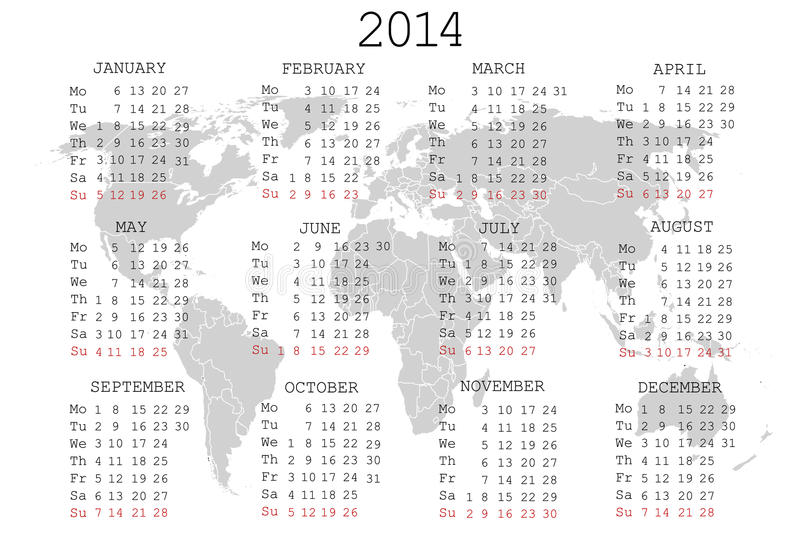 Download 2014 Calendar With World Map Stock Vector - Image: 25435532