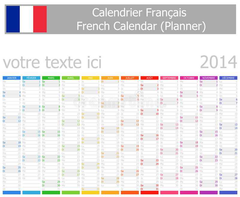 Download 2014 French Planner Calendar With Vertical Months Stock Vector - Image: 28470598