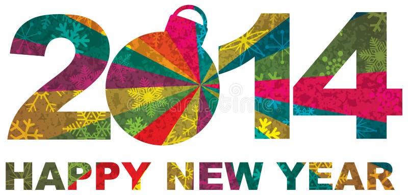 2014 lyckliga tal för nytt år royaltyfri illustrationer