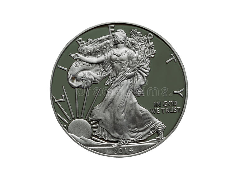 2014 Proof United States of America Silver Dollar stock photo