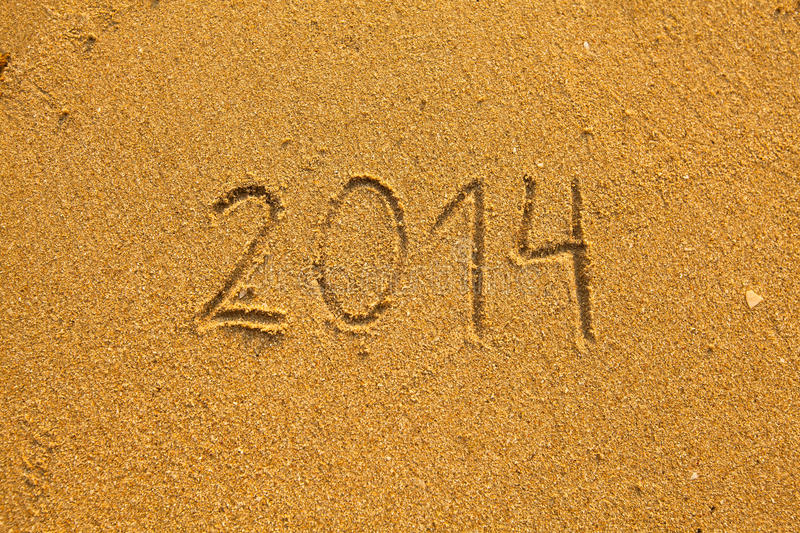 Download 2014 Written In Sand On Beach Stock Photo - Image: 28818216