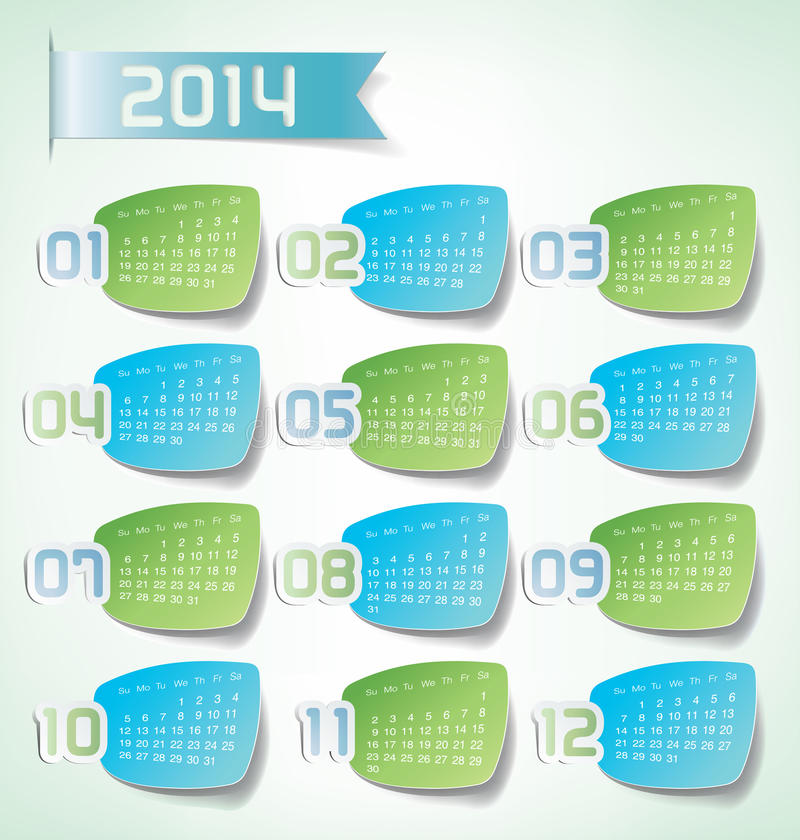 Download 2014 Yearly Calendar stock illustration. Image of labels - 28323239