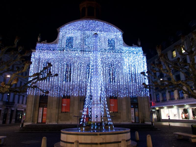 2015-Kerstmis in Genève stock foto