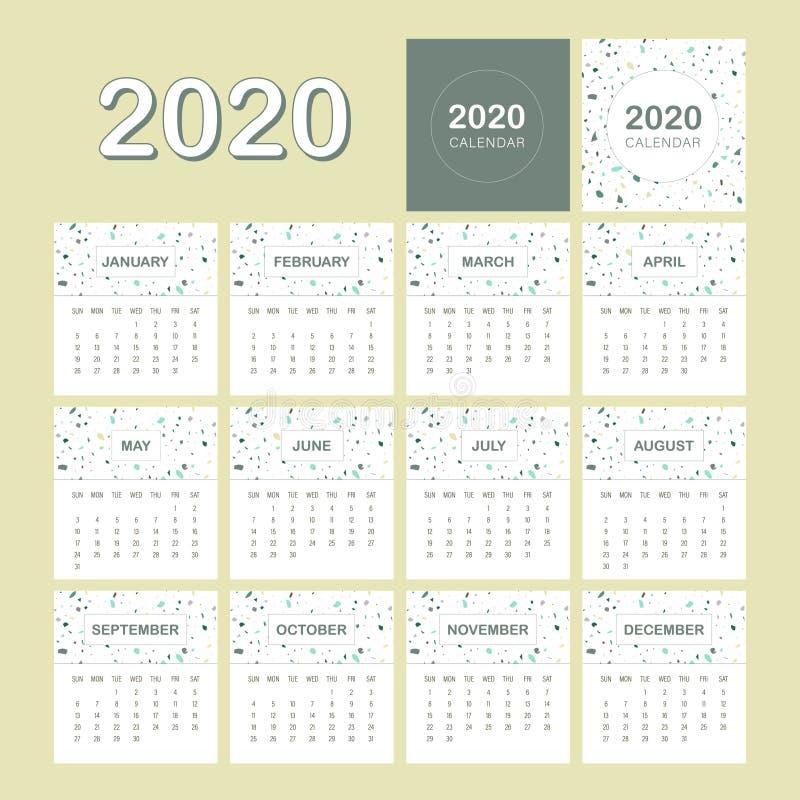 Free 2020 Calendar Terrazzo Design Template Royalty Free Stock Photography - 164623377