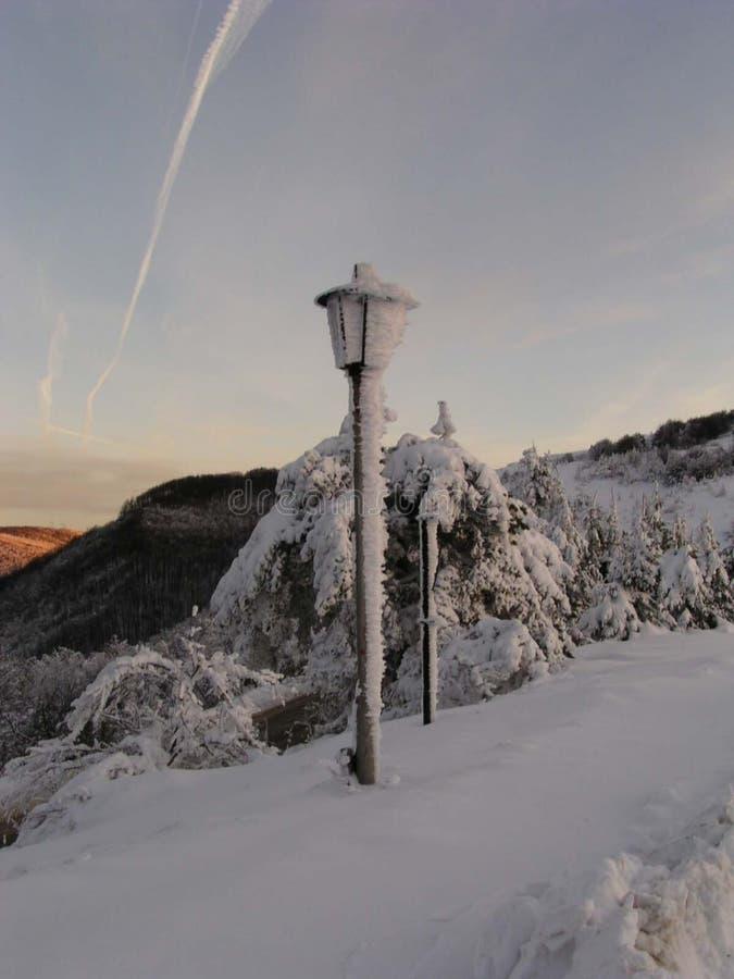 保加利亚闪亮指示雪 库存照片