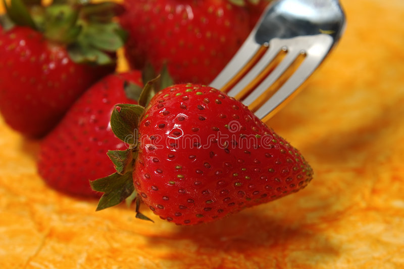 分叉的草莓 库存图片
