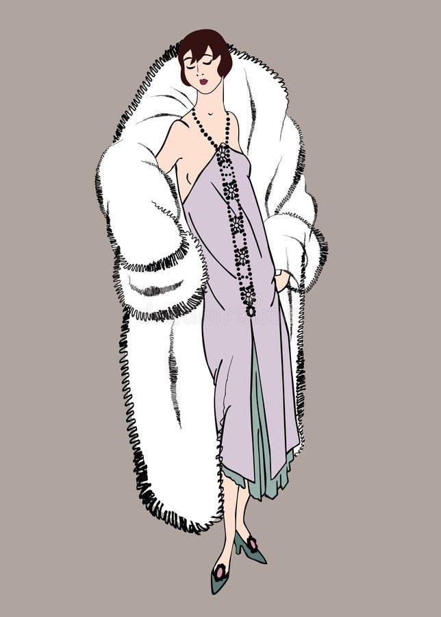 20s podlotek dziewczyny: Mody retro przyjęcie ilustracja wektor