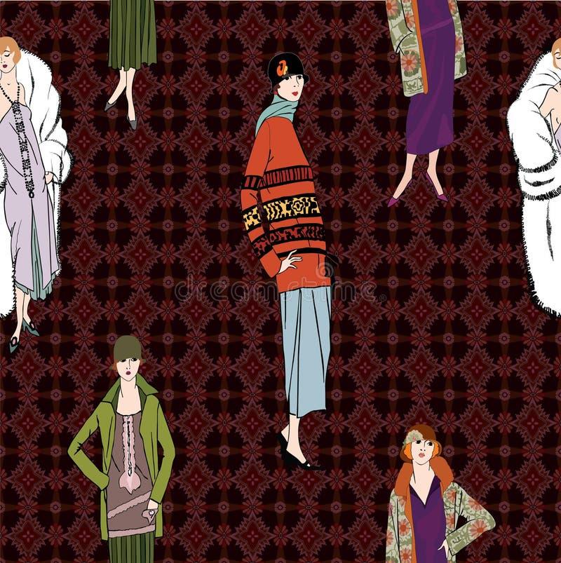 20s podlotek dziewczyny: Mody retro przyjęcie royalty ilustracja