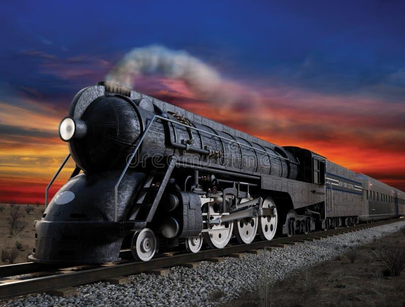 20th Century Limited. Dreyfuss J3A, 20th Century Limited streamliner locomotive at twilight stock illustration