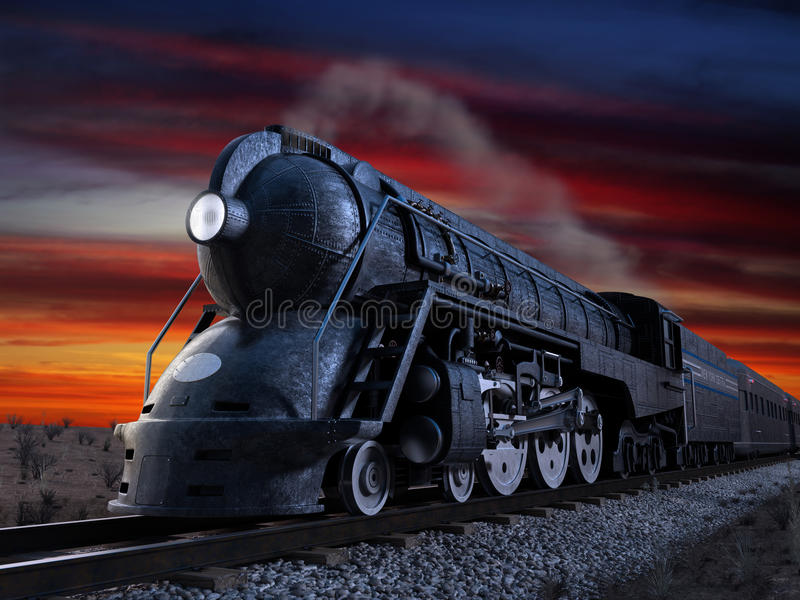 20th Century Limited. Dreyfuss J3A Streamliner locomotive known as the 20th Century Limited shot at twilight during a sunset vector illustration