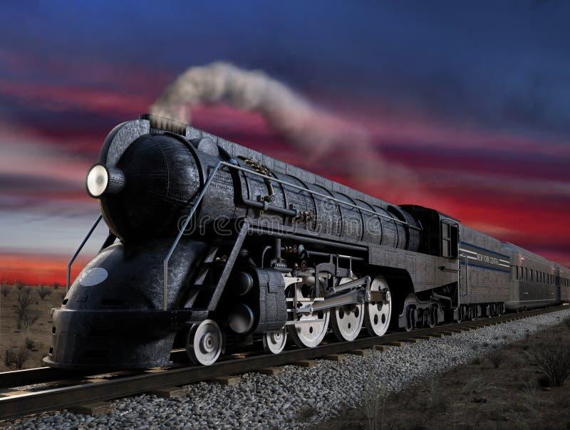 20th Century Limited. Dreyfuss J3A, 20th Century Limited streamliner locomotive at twilight vector illustration