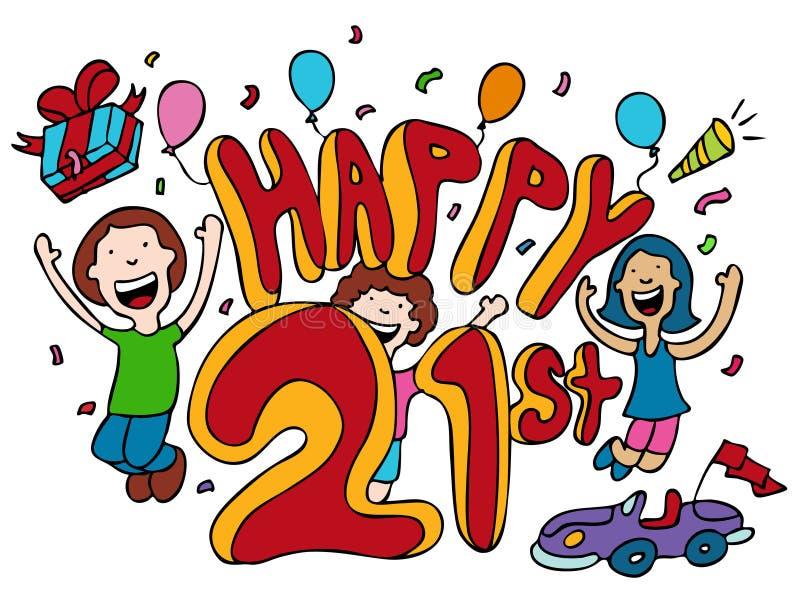 21ème heureux illustration stock