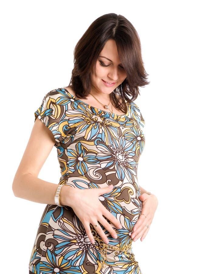 21-Wochen-glückliche schwangere Frau lizenzfreie stockfotos