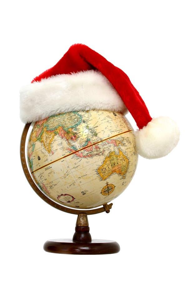 地球帽子圣诞老人 库存图片