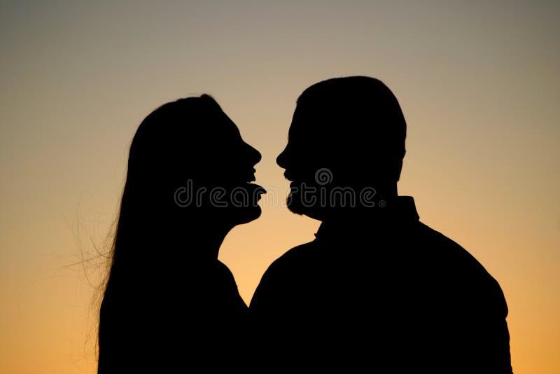 夫妇调情的人剪影 库存照片