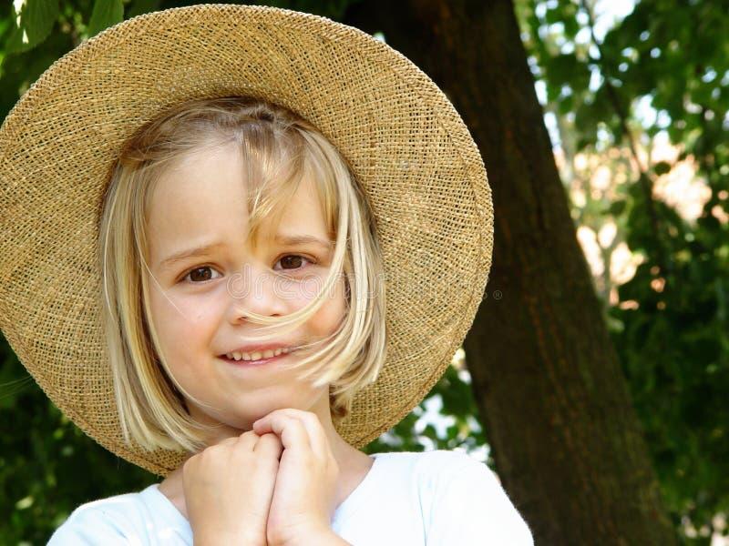 女孩帽子秸杆 免版税图库摄影