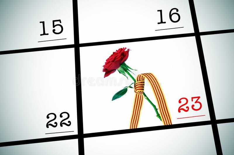 23 Kwiecień Catalonia dzień Jordi róże sant obrazy royalty free