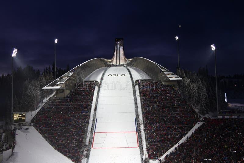 24个c 2月fis北欧挪威奥斯陆滑雪世界 免版税图库摄影