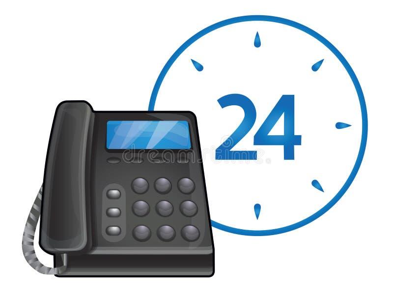 24黑色时数电话技术支持 皇族释放例证