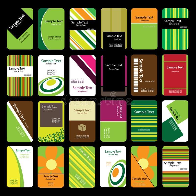 24 вертикали визитных карточек цветастых иллюстрация штока