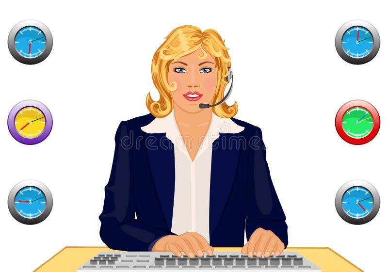 24 поддержки часов стола клиента иллюстрация вектора